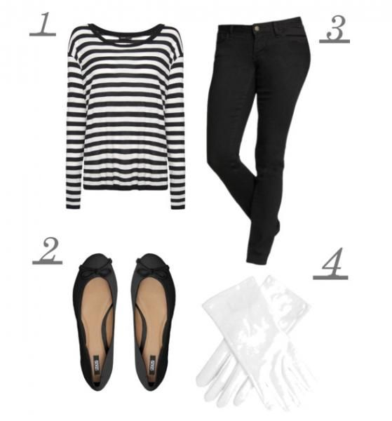 Quick costume idea: be a mime. All you need is a pair of black pants, a striped tee, flats, and gloves. #style #Halloween