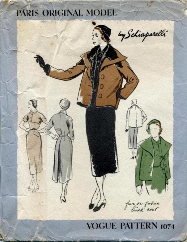 1940s Schiaparelli coat and dress pattern - Vogue 1074
