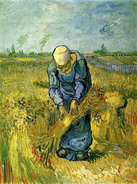Vincent van Gogh:  Peasant Woman Binding Sheaves after Millet
