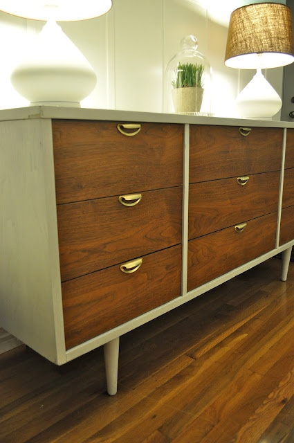mid century modern two-toned dresser re-do