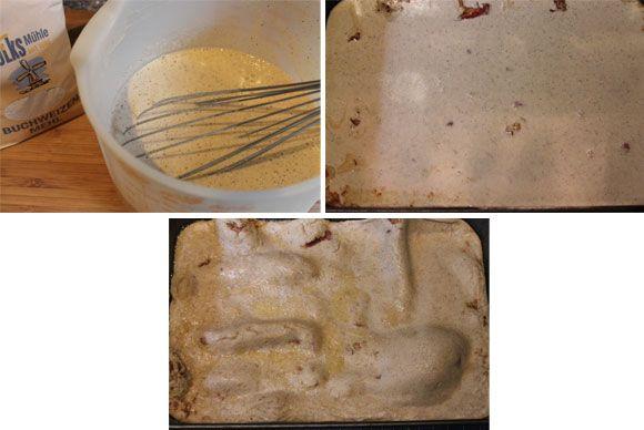 Buchweizenpfannkuchen auf dem Backblech