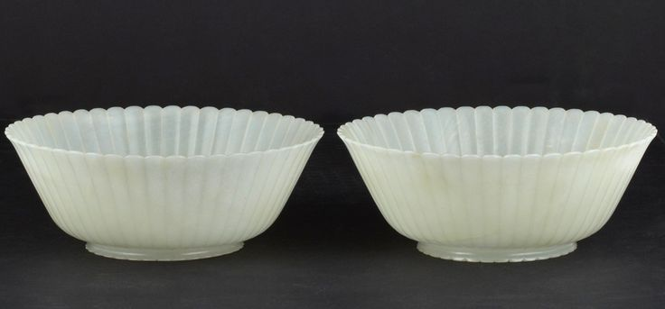 Pair of Chinese White Jade Bowls, 19th Century