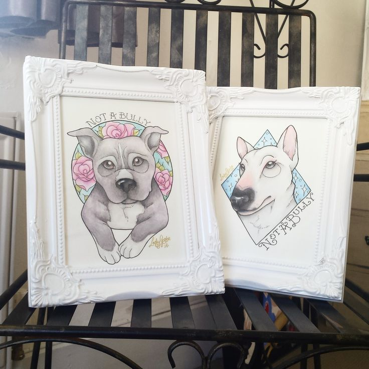 """Not a Bully"" watercolours all framed up by Lady Gabe   Staffordshire Bull Terrier and an English Bull Terrier, 2 of my favourite dogs! Lovely loyal breeds. #Staffy #bully #dogs"
