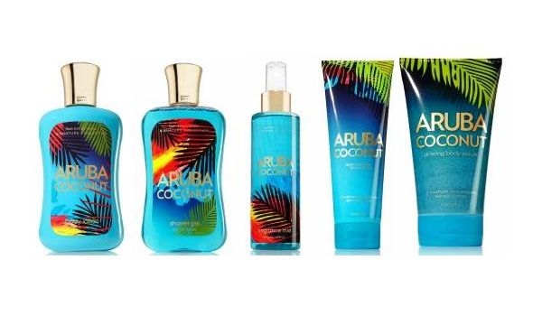 Love the Aruba Coconut line from Bath and Body Works. Esp love the glowing body scrub!