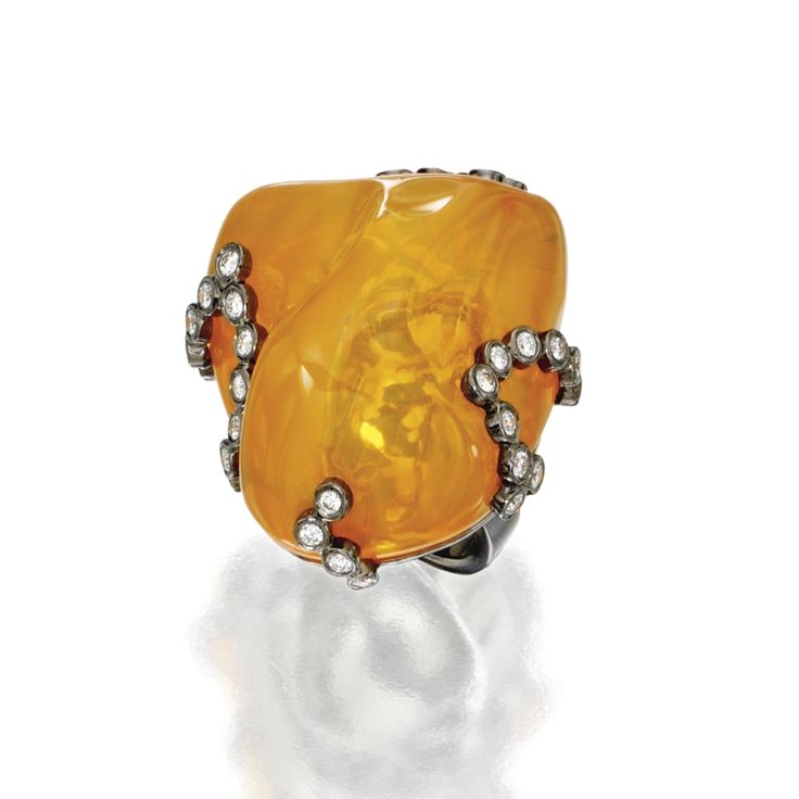 18 karat blackened gold, fire opal and diamond ring, Sifen Chang