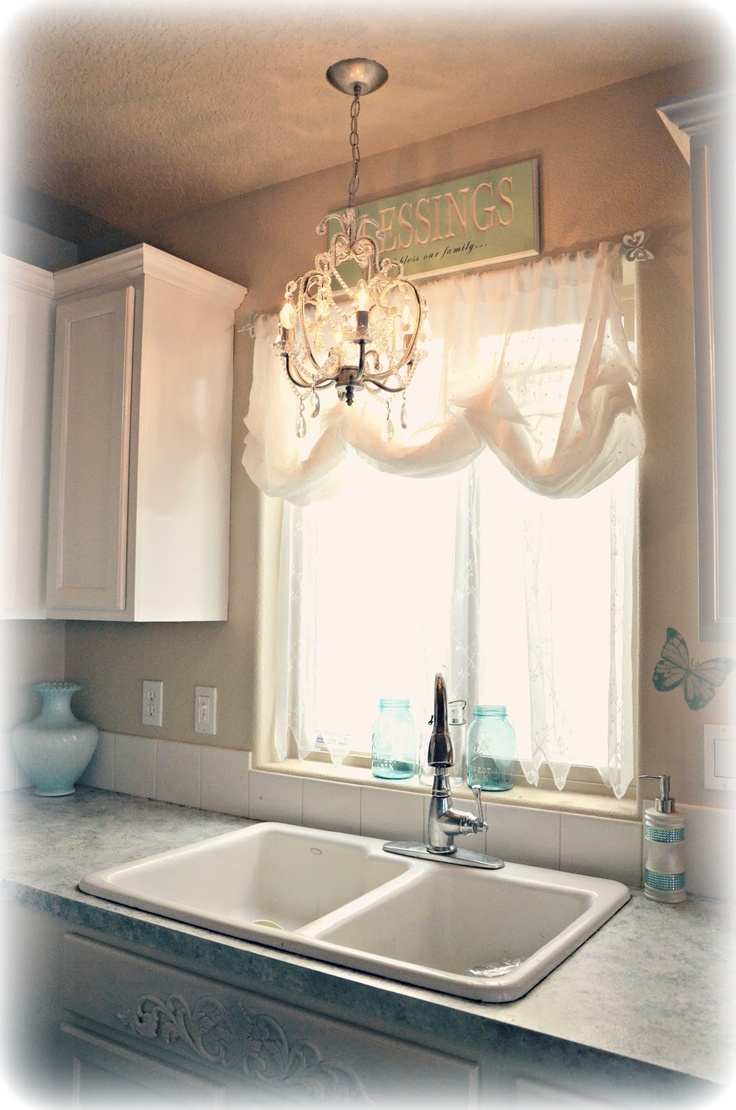 chandelier above kitchen sink country and shabby chic decorating pinterest on kitchen decor over sink id=31572