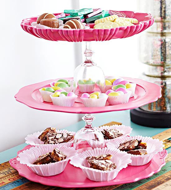 A few plates and glasses make an adorable tiered serving tray. Check out more flea market makeovers: http://www.bhg.com/decorating/decorating-style/flea-market/flea-market-makeovers/