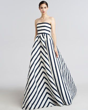 Strapless Striped Gazar Gown by Oscar de la Renta at Bergdorf Goodman.