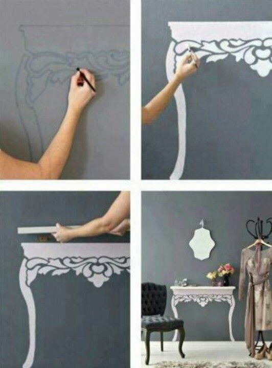"""Creative little """"desk"""" for the left of the front door...I could totally do this."""