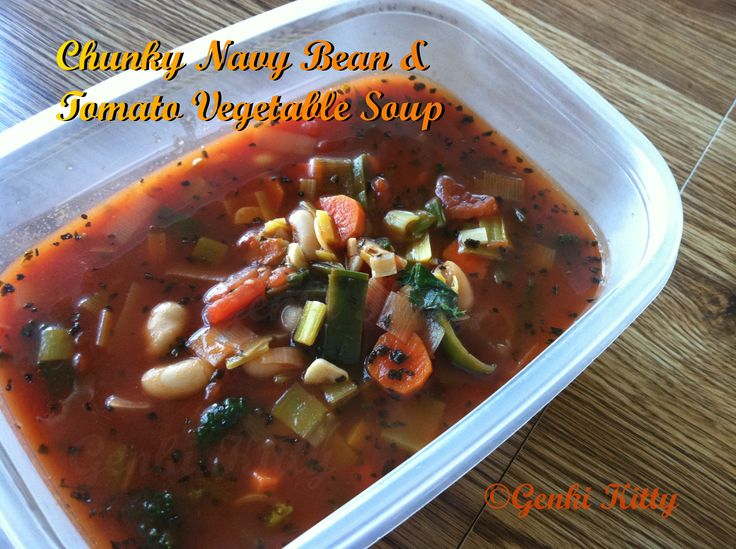 Vegan Chunky Navy Bean and Tomato Soup Recipe