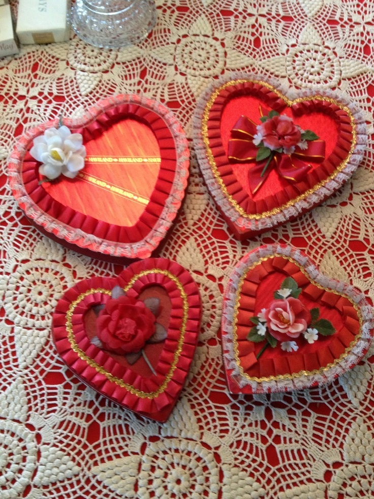 4 Valentine Heart Candy Box Elmer Haviland Russell Stover
