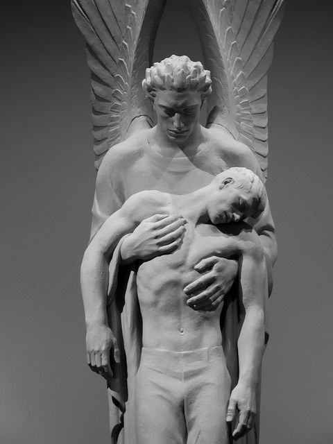 I don't know if that's Gabriel or the angel of death, or perhaps a guardian angel helping someone.