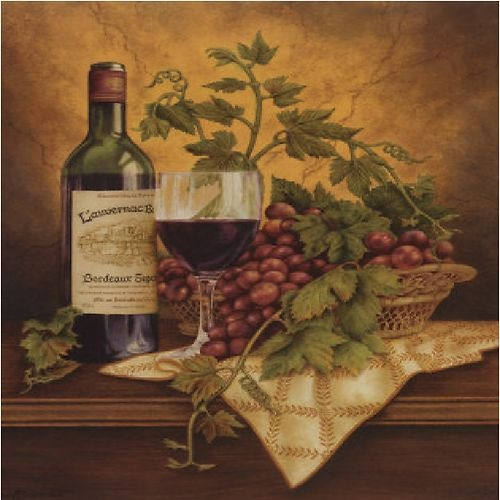 Italian Wine Grapes Kitchen Decor Square Coaster Set