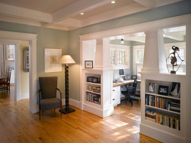 Similar colors - floor, walls, etc. and half plantation shutters in background :: bungalow interiors, decor and design, craftsman built-in shelving, sunroom, home office