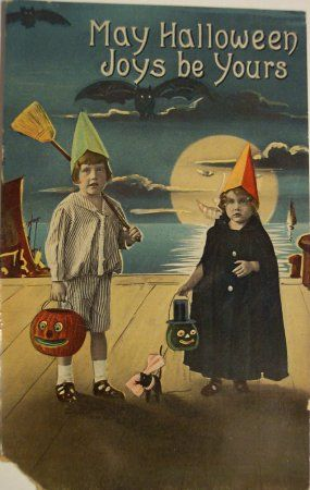 vintage postcard--children in Halloween costumes