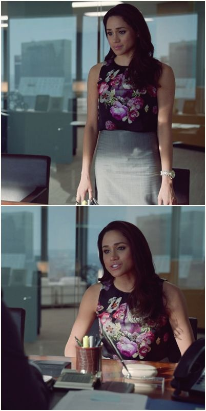 Rachel Zane and her floral printed top , and pencil skirt