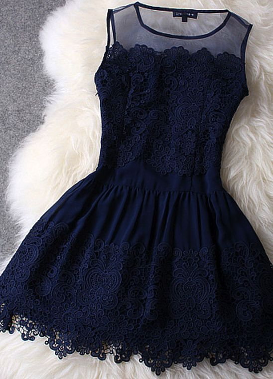 Navy lace dress with illusion neckline. Classy dinner and drinks date night dress!