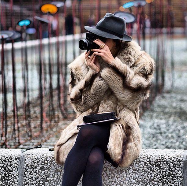 Fur coat and fedora