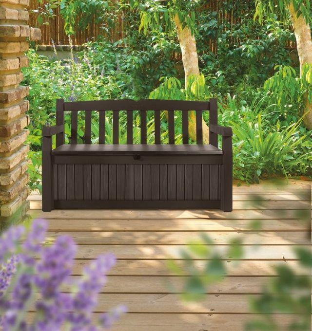 large resin outdoor seating sitting bench storage box pool patio deck