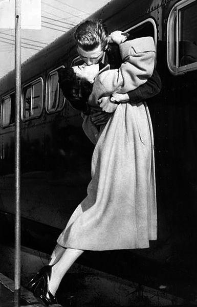 authentic goodbye train kiss... classy.