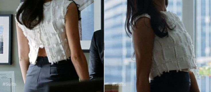 Rachel Zane's white crop top makes office fashion so much hotter. I love it