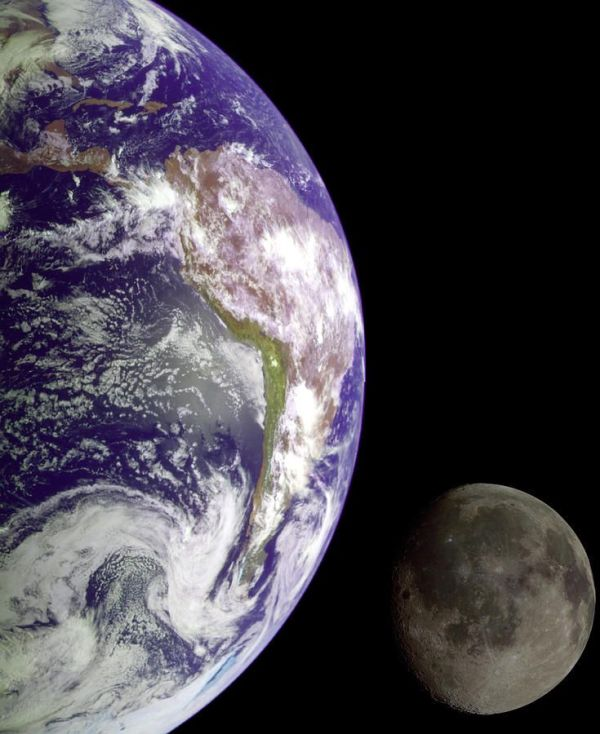 Mother Earth and Her Moon Print by NASA USGS
