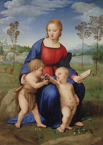 La Madonna del Cardellino, olio su tavola (107x77 cm) di Raffaello Sanzio, databile al 1506 circa e Conservato Nella Galleria degli Uffizi a Firenze.