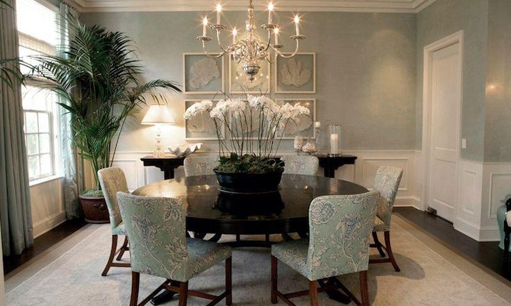 Adam Hunter Inc: Beautiful sea foam green dining room with coastal feel.