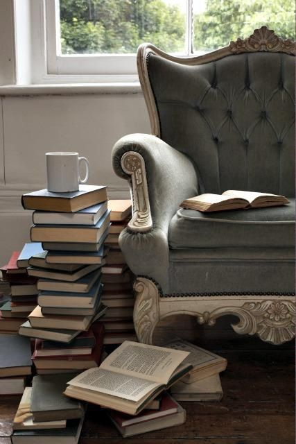 Books, cup of tea, and a comfy chair!