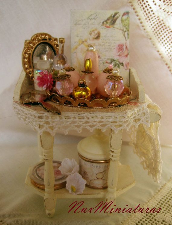Dollhouses. Shabby Chic miniature boudoir