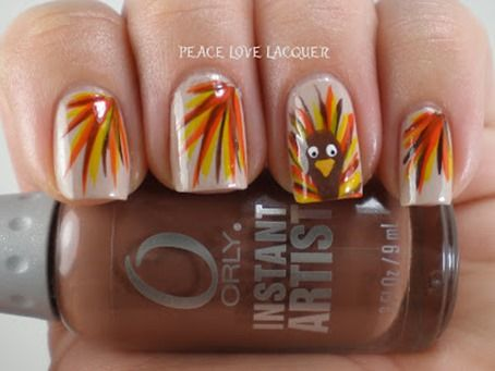 Thanksgiving nails, really simple and cute