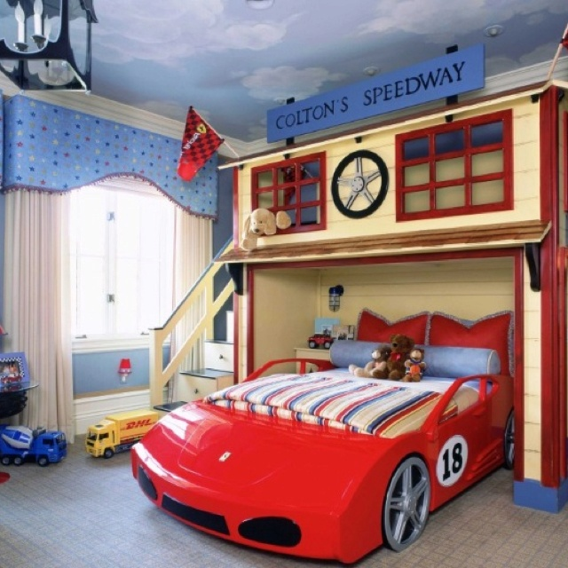 "Boy's Car Bedroom-- love the ""hangout"" above the bed!"