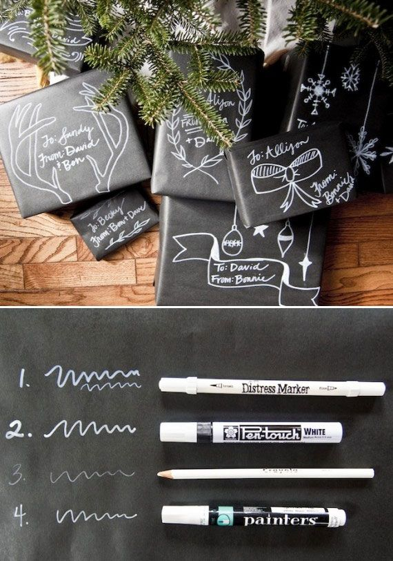 DIY - Chalkboard Inspired Gift Wrapping - Tutorial + Sources