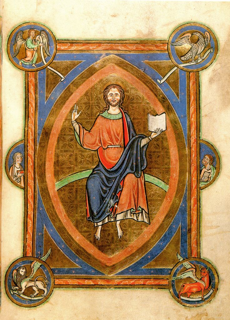 Full-page miniature of Christ in Majesty from this Peterborough manuscript, completed presumably before its known owner's death in 1222 (see Image 385). Christ is seated on a green arc within a mandorla. He does not appear as a stern judge, but is gently and sympathetically depicted.
