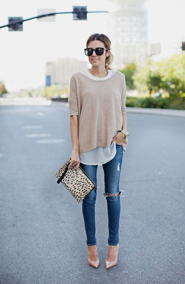 sweater over a sheer blouse. I think I need to wear this every day in the fall.