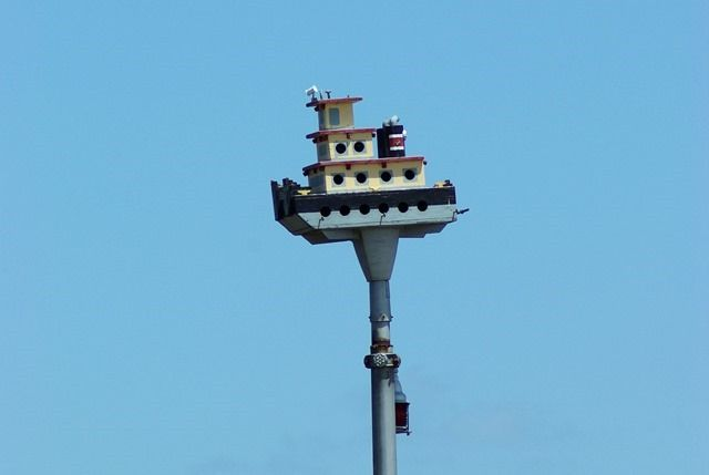 Tugboat birdhouse. Lock and Dam at Clarksville, Missouri, June 8, 2007  (1000 words no. 90)