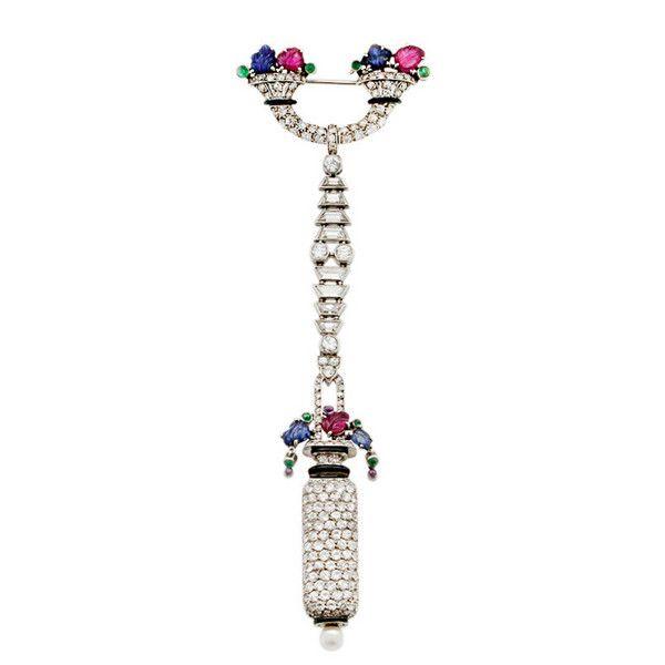 A Gemset Diamond Pendant Watch by La Cloche - The Association of Art and Antique Dealers - LAPADA