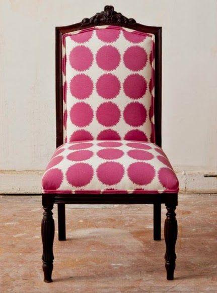 New Twist On An Antique Chair...Big Pink Polka Dots