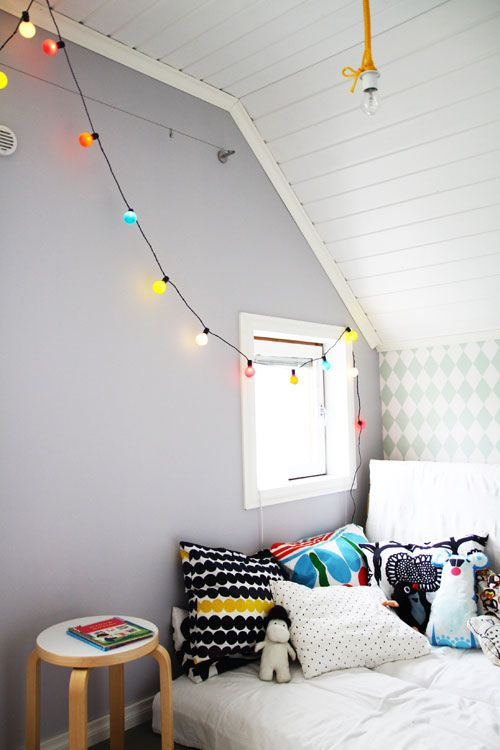 colored lights + graphic pillows