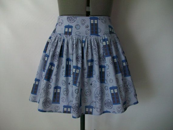 Blue TARDIS Skirt by ComplementsByJo on Etsy