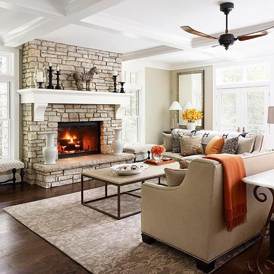 Fireplace Designs and Decorating Ideas  A fireplace is a natural focal point in any room. Add interest and warmth to your home with these fireplace facelifts.