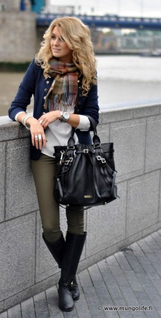 olive skinnies, black boots, plaid scarf, and navy cardi