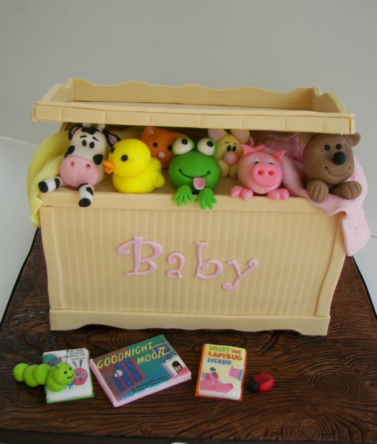 Dolls / Toys - Toy Box Cake with fondant animals, board is all fondant and books are edible images.