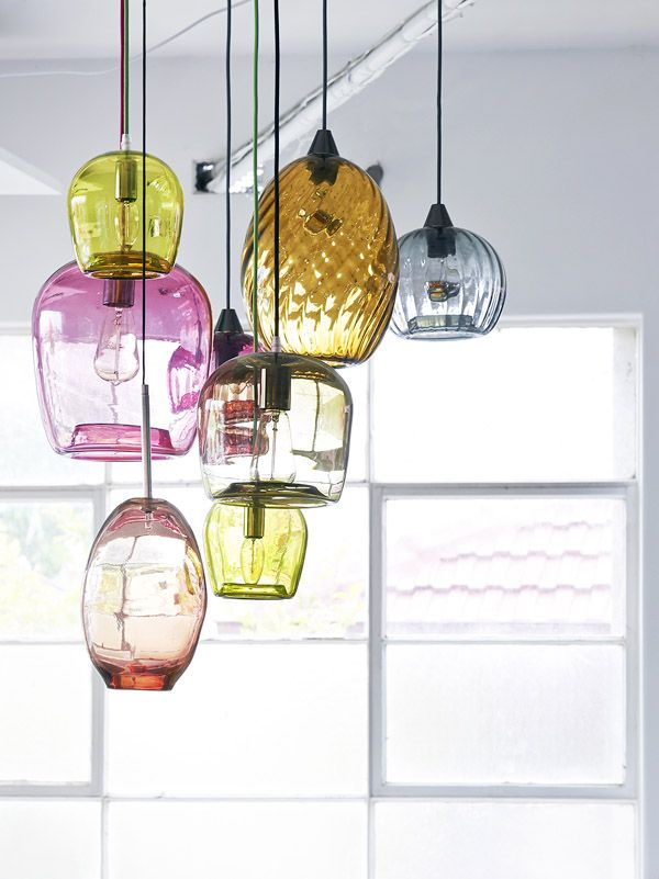 Colorful glass blown pendant lights. Interview · Mark Douglass - The Design Files