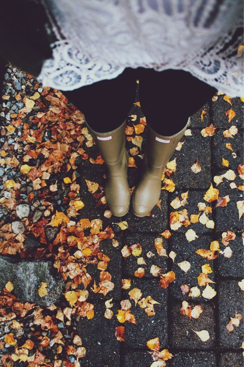 boots and yellow leaves