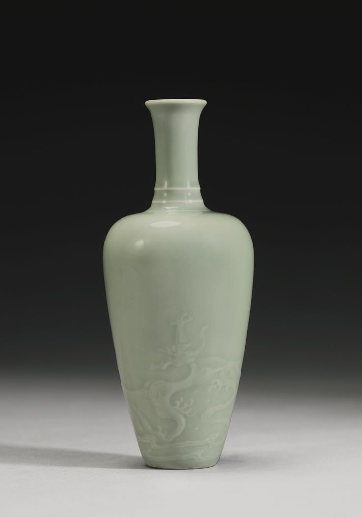 A FINE AND RARE CELADON-GLAZED 'DRAGON' VASE<br>KANGXI MARK AND PERIOD | Lot | Sotheby's