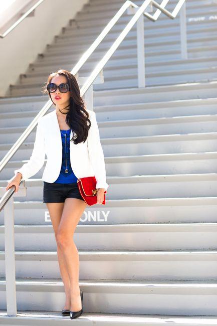 White Blazer and Leather Shorts on StylebyAlina.com Blog. Fashion Blog, Petite Fashion, Style Blogger, Spring Fashion