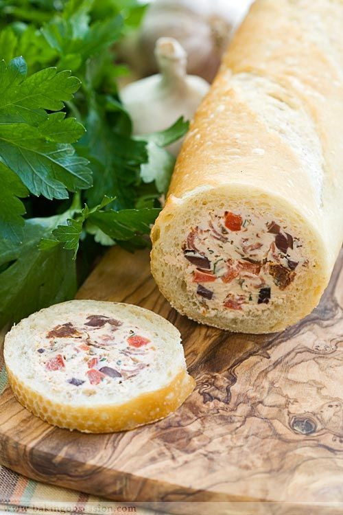 Stuffed Baguette! Fill with your fave chesses, meats and veggies! #Newyears #recipes