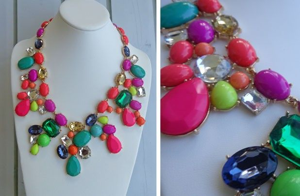 "J Crew inspired Mix Candy Statement Necklace...on sale now on @GroopDealz website! This one is brighter ""neon-ish"" than the original one...I like it!"
