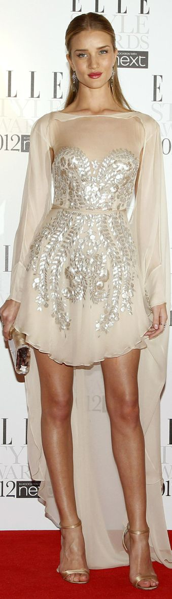 Rosie Huntington-Whitely...envisioning something less complicated but shiny flowy and gauzy...